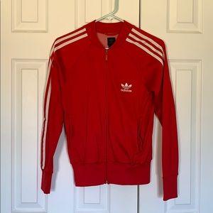 Red Adidas zip-up